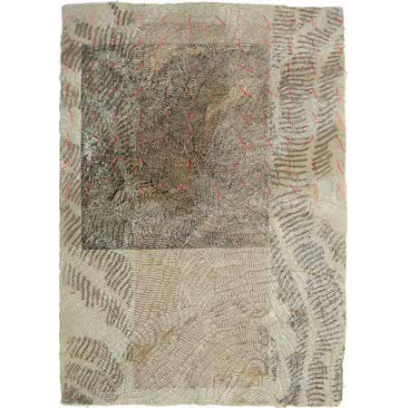 Flagging 2, drypoint on handmade manila hemp and phalsa paper laminate with stenciled earth pigments and thread, 60 x 42 cm.