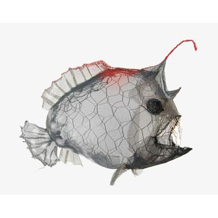 Red Necked Angler Fish, chicken wire, fly wire, data wire and bead wire