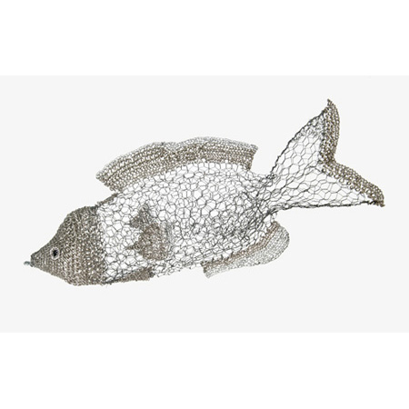 School Fish (follower), chicken wire and picture framing wire