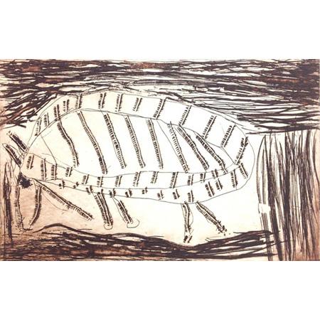 Rabbit, etching by Kate Miwulku (Dec)
