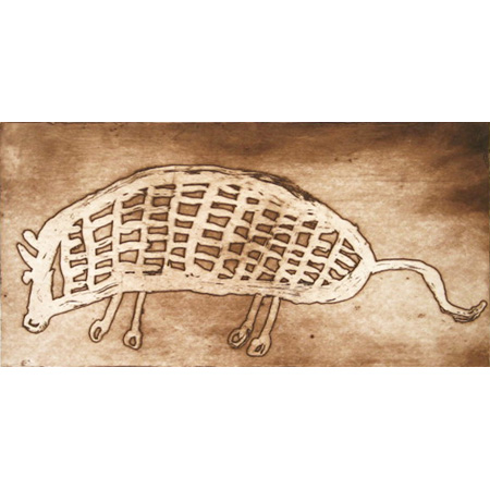 Pig, etching by Kate Miwulku (Dec)