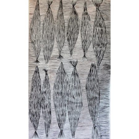 Yerrgi 1 - Pandanus, acrylic on linen, 126 x 75 cm, 2014 - $2050