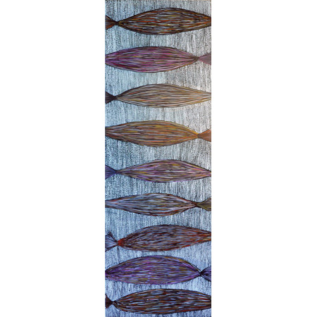 Yerrgi 2 - Pandanus, acrylic on linen, 140 x 45 cm, 2014 - $2000