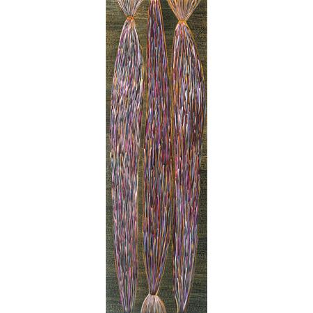 Yerrgi 3 - Pandanus, acrylic on linen, 140 x 45 cm, 2014 - $2000