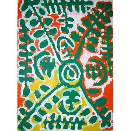 Wopiti - Litle White Potato, acrylic on paper, 105 x 77 cm, 2004