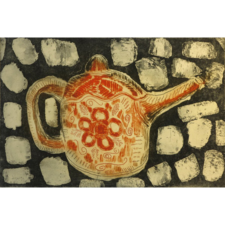 Teapot, etching by Edna Ambrym