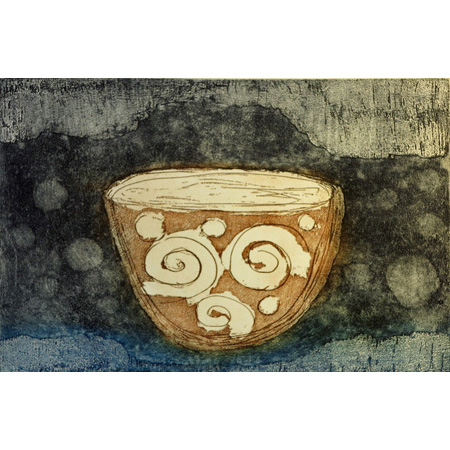 My Bowl, etching by Valmai Pollard