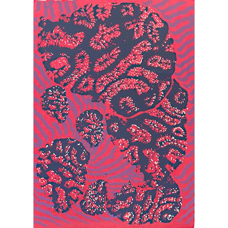 Garrung (Coral ), screen print by Dhalmula #2 Burarrwanga
