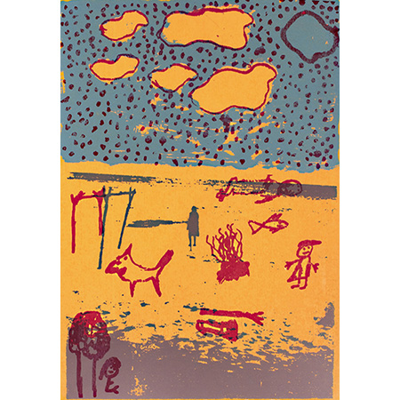 Rangi (Beach), screen print by Gadaman Gurruwiwi