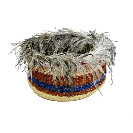 Emu Feathered Basket by Maringka Burton