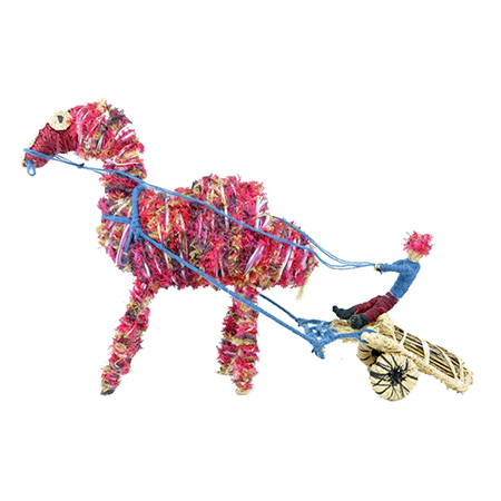 'Camel pulling wagon', fibre sculpture by Margaret Smith