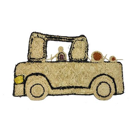 'Toyota', raffia, acrylic yarn and acrylic weaving by Anne Dixon