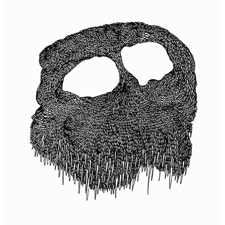 Cave mask, ink on paper, 29 x 29 cm