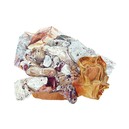 Lithified detritus, watercolour and pencil