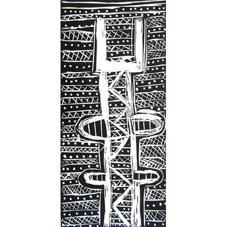 Pukamani Pole, linocut by Rachel Puruntatameri, 31 x 15 cm