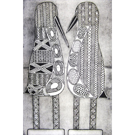 Two Tiwi Birds, etching by Janice Murray, 60 x 39.5 cm