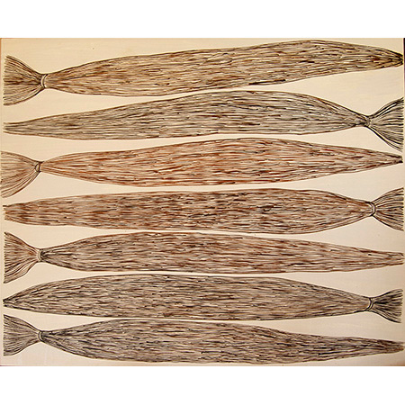 Yerrgi - Pandanus, acrylic on linen, 103 x 124 cm, 2015 - $3300