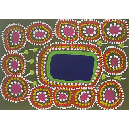 Jila Patiri, screen print by Amy Ngurnta Nuggett, 57 x 76 cm