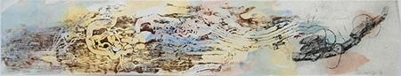 Longicorn Beetle, woodblock print by John Wolseley, 2015