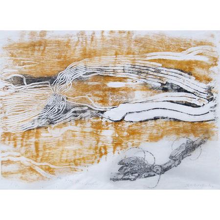 Umwelt of the Grey Box Beetle 1, woodblock print, 24 x 34 cm