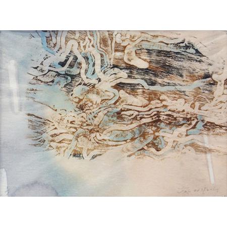 Longicorn Beetle Umwelt, monotype woodblock on watercolour