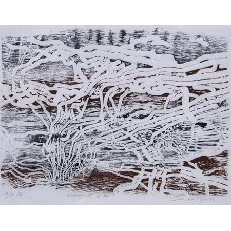 Umwelt of the Wood Borer, woodblock print 15 x 20 cm
