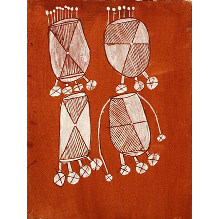 Dikkala (Bush Tucker), ochre on paper by Don Nakidilinj Namundja