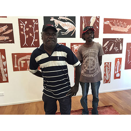 Freddie and Gavin Namarnyilk at the exhibition