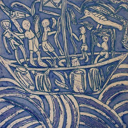 Maccassan Prahu, etching by Dhuwarrwarr Marika