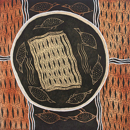 Djirrikitj, etching by Yalpi Yunupingu