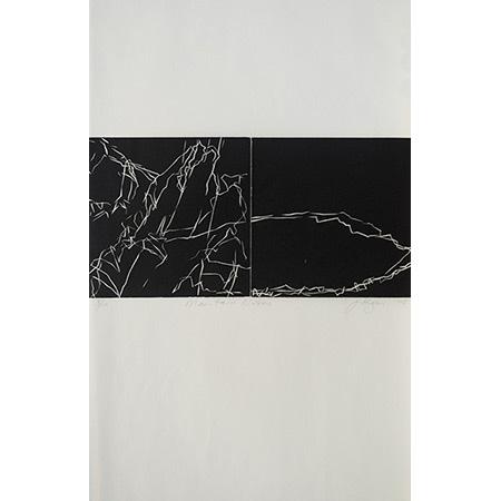 Mountain Notes (diptych), linocut by Jan Hogan