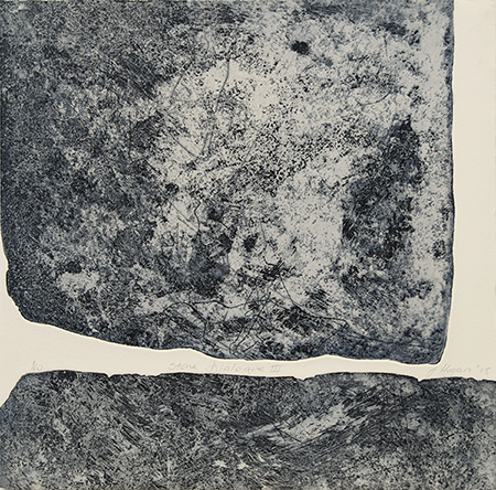 Stone Dialogue III, etching by Jan Hogan