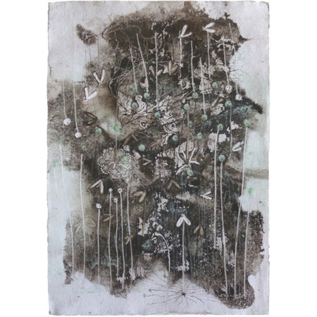 Lunch, mud and engraving on paper by Winsome Jobling