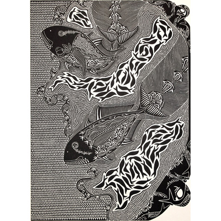 Karramarr - Trevally, linocut by Laurie Nona