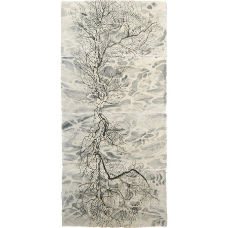 Aether 2, drypoint and mixed media, 115 x 54 cm, 2015