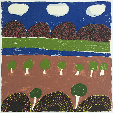 Hills and Trees, screen print by Jemima Miller