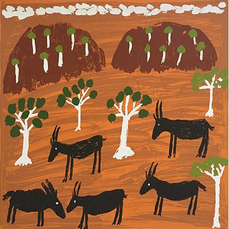 Yulularri - Nanny Goats, screen print by Marjorie Keighran