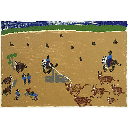 Branding Cattle in Open Country, screen print by Nancy McDinny