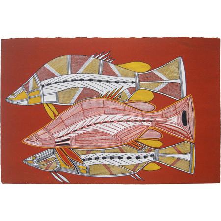 Namarnkol (Barramundi), acrylic on Arches paper by Gabriel Maralngurra