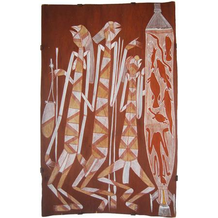 Ngokngok, Ochre on bark by Gabriel Maralngurra