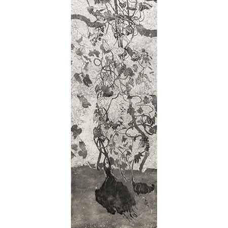 Ganguri, Vine and Yam, linocut and wood cut by John Wolseley