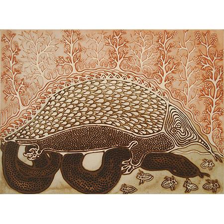 Gracie Kumbi, Anganfepinimbi and Anganifinyi - Olive Python and Echidna, two plate etching.
