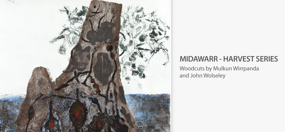 John Wolseley, Yirriŋaŋiŋ, Muwuka and Buwukul, wood cut from three blocks, 2015
