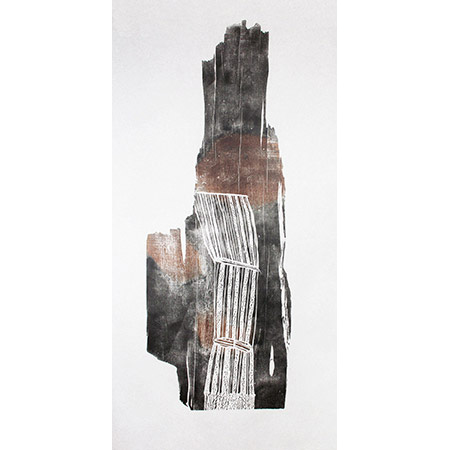 Rakay #4, relief print on mulberry paper by Mulkun Wirrpanda
