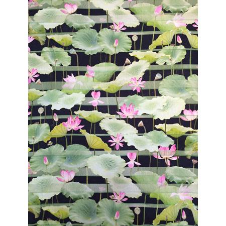 Lotus (Blue), digital print on linen by Bobbie Ruben