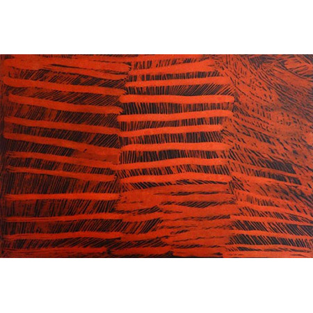 Red Lines, etching by Nyapanyapa Yunupingu