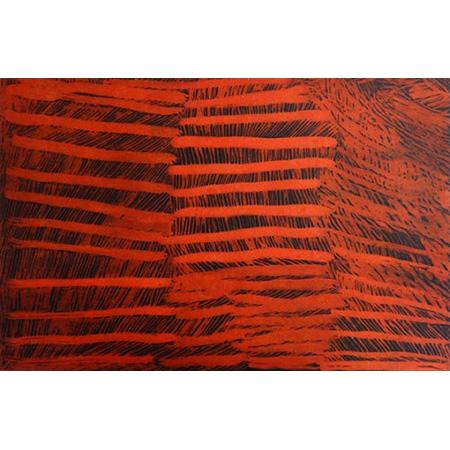 Red Lines, etching by Nyapanyapa Yunupingu