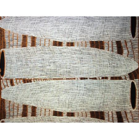 Fish trap by Kieren Karritpul, screen-print on raw silk.