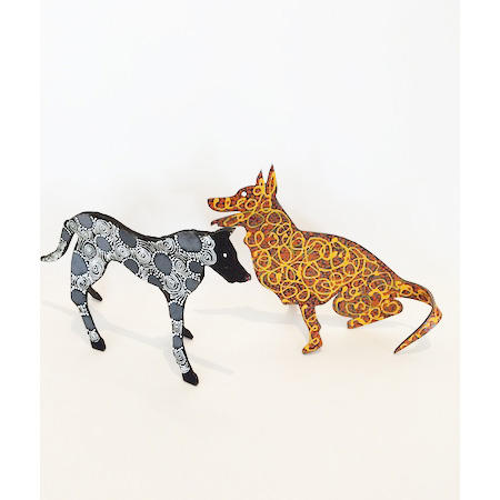Camp dogs and dingoes, painted metal sculptures from Yuendumu