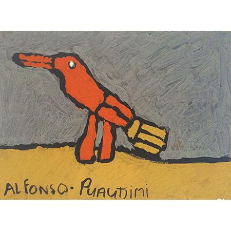 Darter, ochre on paper by Alfonso Puautjimi